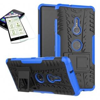 Für Sony Xperia XZ3 Hybrid Case 2 teilig Blau Hülle + 0, 3 mm H9 Glas Tasche Neu
