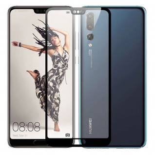 3D Premium 0, 3 mm H9 Hart Glas Schwarz Folie für Huawei P20 Schutz Neu Zubehör