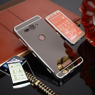 Alu Bumper 2 teilig Schwarz + 0, 3 H9 Glas für Sony Xperia XZ2 Compact Tasche Neu