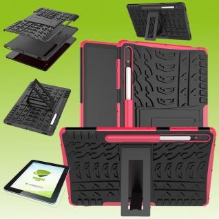 Für Samsung Galaxy Tab S7 Plus Hybrid Etuis Pink Hülle Cover Tasche + H9 Glas