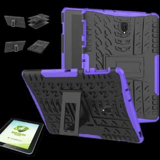 Für Samsung Galaxy Tab A 10.5 T590F Hybrid Outdoor Lila Tasche 0.4 H9 Hart Glas