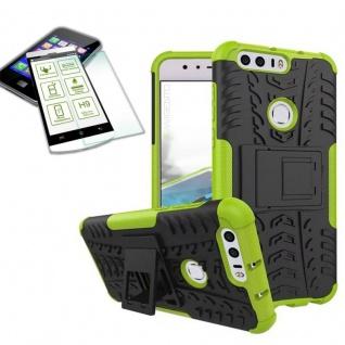 Hybrid Case Tasche Outdoor 2teilig Grün für Huawei Honor 8 + Hartglas Cover