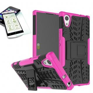 Hybrid Case 2 teilig Rosa für Sony Xperia XA1 Hülle + 0, 3 H9 Hartglas Tasche