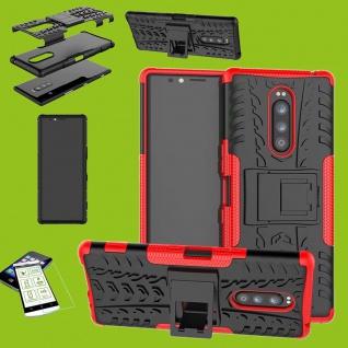 Für Sony Xperia 1 6.5 Zoll Hybrid Case Rot Hülle + 0, 3 mm H9 Glas Tasche Etuis