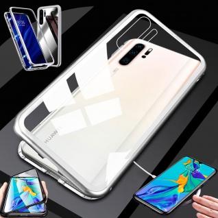 Für Huawei P30 Pro Magnet Glas Silber / Transparent Tasche Hülle Etuis Cover Neu