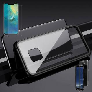 Für Huawei Mate 20 Pro Magnet Glas Tasche Schwarz / Transparent + 0, 3 4D H9 Glas