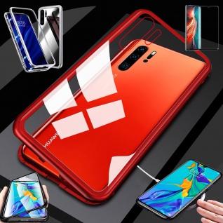 Für Huawei P30 Pro Magnet Glas Tasche Rot / Transparent + 0, 3 4D H9 Glas Etuis
