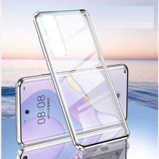 Beidseitige Magnet Glas Bumper Handy Tasche Silber für Samsung Galaxy S21 Plus