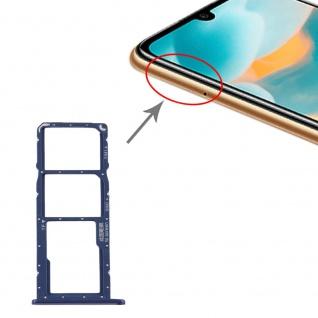 Für Huawei Y6 2019 SIM + SIM Card Tray Karten Halter + Micro SD Blau Ersatzteil