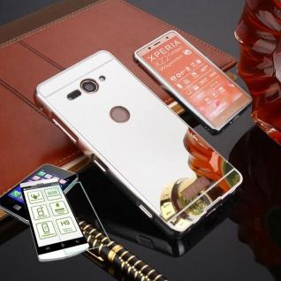 Alu Bumper 2 teilig Silber + 0, 3 H9 Glas für Sony Xperia XZ2 Compact Tasche Case
