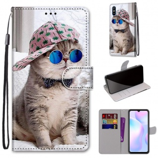 Für Xiaomi Redmi 9A Kunst-Leder Handy Tasche Motiv 3 Hülle Etuis Cover Schutz