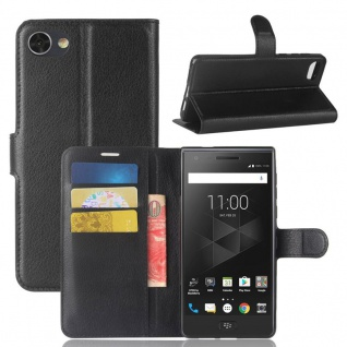 Tasche Wallet Premium Schwarz für Blackberry Motion Hülle Case Cover Etui Neu