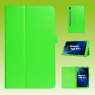 Für Samsung Galaxy Tab S7 Plus / S7 FE Grün Kunst Leder Hülle Tablet Tasche Etuis Cover