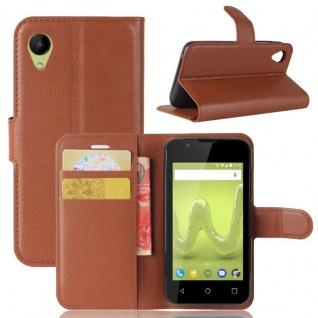 Tasche Wallet Premium Braun für Wiko Sunny 2 Hülle Case Cover Etui Schutz Neu