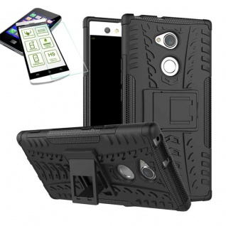 Hybrid Case 2 teilig Schwarz für Sony Xperia XA2 Hülle + 0, 3 mm H9 Hartglas