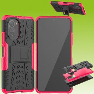 Für Xiaomi Redmi Note 10 / 10s Hybrid Case Outdoor Pink Handy Tasche Etuis Cover