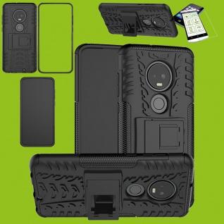 Für Motorola Moto G7 / G7 Plus Hybrid Tasche Outdoor 2teilig Schwarz + H9 Glas