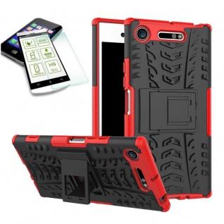 Hybrid Case 2 teilig Rot für Sony Xperia XZ1 Compact + 0, 3 H9 Hartglas Tasche