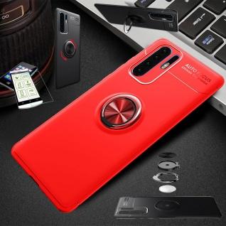 Für Huawei P30 Lite Dünn Magnet Metall Ring Tasche Hülle Rot + H9 Glas Etuis Neu
