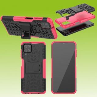 Für Samsung Galaxy A12 A125 Hybrid Case Outdoor Pink Handy Tasche Etuis Hülle