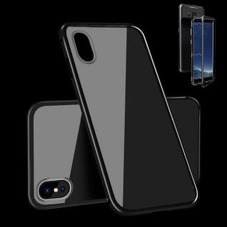 Für Apple iPhone X 10 XS 5.8 Magnet / Metall Glas Voll Schwarz Tasche Hülle Case