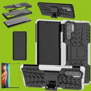 Für Huawei P30 Pro Hybrid Tasche Etuis 2teilig Weiß Hülle + 4D Curved H9 Glas