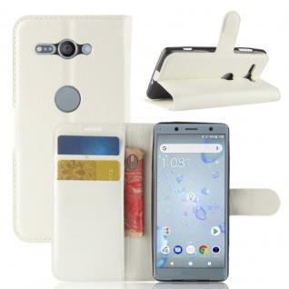 Tasche Wallet Premium Weiß für Sony Xperia XZ2 Compact Hülle Case Cover Schutz