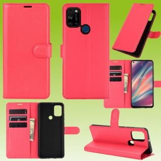 Für Wiko View 5 / 5 Plus Handy Tasche Rot Etuis Kunst-Leder Cover Hülle Case Neu
