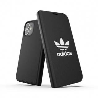 Adidas BASIC Bookcover Tasche für Apple iPhone 12 Mini Schwarz Hülle Case Cover