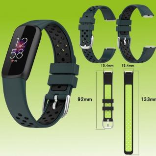 Für Fitbit Luxe Fitness Uhr Kunststoff Silikon Ersatz Armband Dunkel Grün / Schwarz
