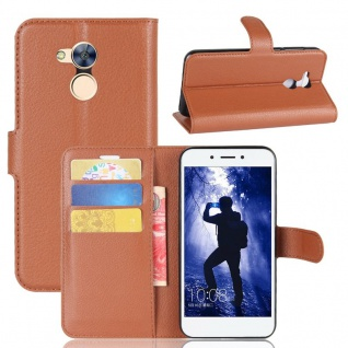 Tasche Wallet Premium Braun für Huawei Honor 6A Hülle Case Cover Etui Neu Schutz
