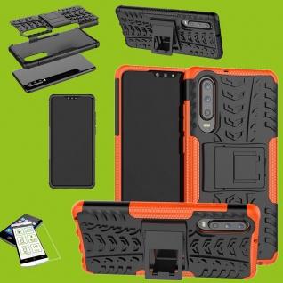 Für Huawei P30 Hybrid Tasche Cover Outdoor 2teilig Orange Etui Hülle + H9 Glas