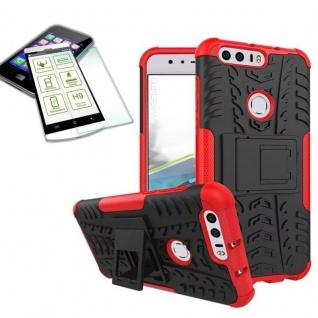 Hybrid Case Tasche Outdoor 2teilig Rot für Huawei Honor 8 + Hartglas Cover Neu