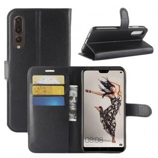 Tasche Wallet Premium Schwarz für Huawei P20 Pro Hülle Case Cover Schutz Schale