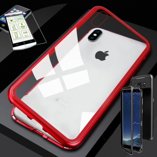 Für Apple iPhone X / XS 5.8 Magnet Glas Tasche Rot / Transparent + 0, 26 H9 Glas