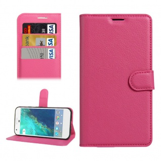 Bookcover Tasche Wallet Design für Google Pixel 5.0 Schutzhülle Hülle Etui Pink