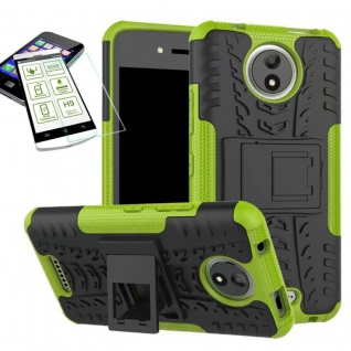 Hybrid Case Tasche 2teilig Grün für Motorola Moto C Plus + H9 Hartglas Hülle