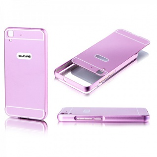 Alu Bumper 2 teilig mit Abdeckung Rosa für Huawei Y6 Tasche Hülle Case Cover Neu