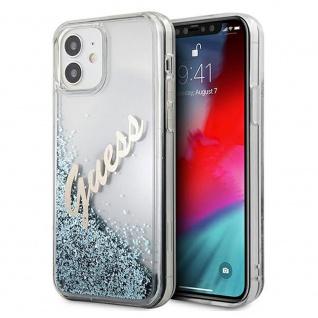 Guess Apple iPhone 12 Mini Blau Glitter Vintage Script Glitzer Case Cover Hülle