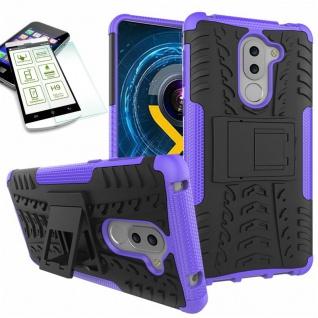 Hybrid Case 2teilig Lila für Huawei Honor 6X + Hartglas Tasche Hülle Cover Neu