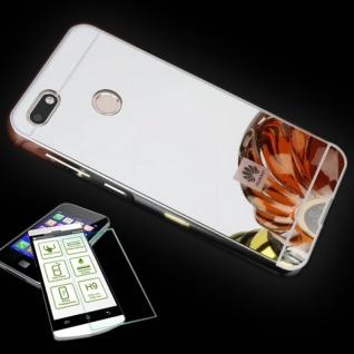 Alu Bumper 2 teilig Silber + 0, 3 H9 Panzerglas für Huawei Y6 Pro 2017 Tasche Neu