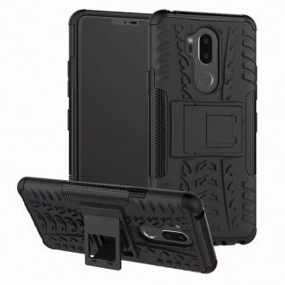 Für LG G7 Hybrid Case 2teilig Outdoor Schwarz Etui Tasche Hülle Cover Schutz Neu