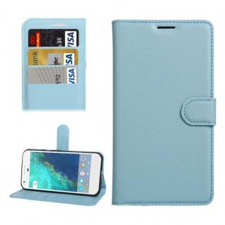 Bookcover Tasche Wallet Design für Google Pixel 5.0 Schutzhülle Hülle Etui Blau