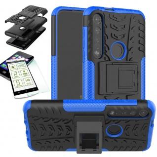 Für Motorola Moto G8 Plus Hybrid Handy Tasche Outdoor 2teilig Blau + H9 Glas Neu