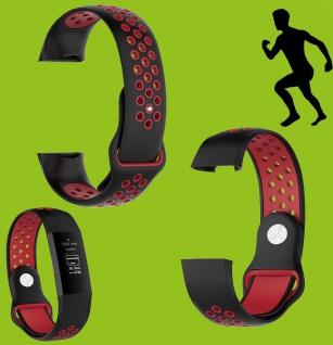 Für Fitbit Charge 3 Kunststoff Silikon Armband für Männer Größe L Schwarz-Rot