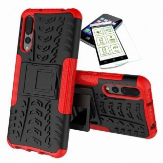 Für Huawei P20 Hybrid Case Tasche Outdoor 2teilig Rot Hülle + H9 Glas Hülle Neu