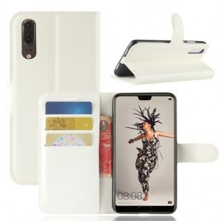 Tasche Wallet Premium Weiß für Huawei P20 Hülle Case Cover Schutz Etui Schale