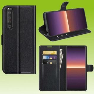 Für Sony Xperia 1 III 3. Gen Handy Tasche Schwarz Etuis Kunst-Leder Cover Hülle