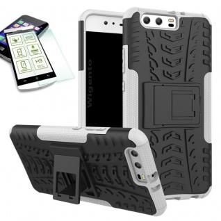 Hybrid Case Tasche Outdoor 2teilig Weiß für Huawei P10 Hülle + Hartglas Etui