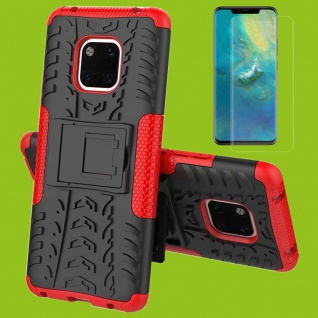 Für Huawei Mate 20 Hybrid Tasche Cover Outdoor 2teilig Rot Etui Hülle + H9 Glas